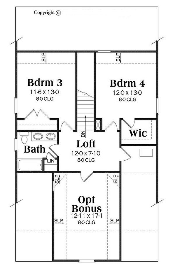Bungalow Floor Plan - Upper Floor Plan Plan #419-301