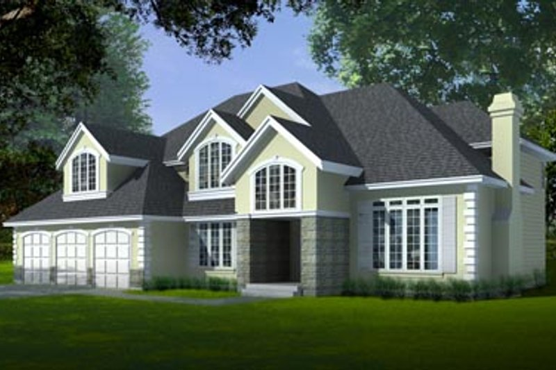 European Exterior - Front Elevation Plan #97-209