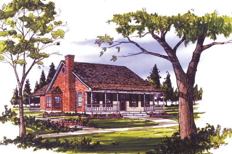 Country Exterior - Front Elevation Plan #406-9650 - Houseplans.com