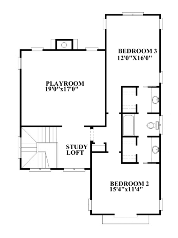 Mediterranean Floor Plan - Upper Floor Plan Plan #991-27