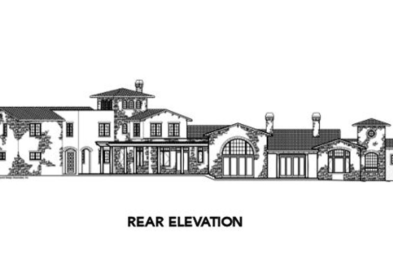 Mediterranean Exterior - Rear Elevation Plan #48-361 - Houseplans.com