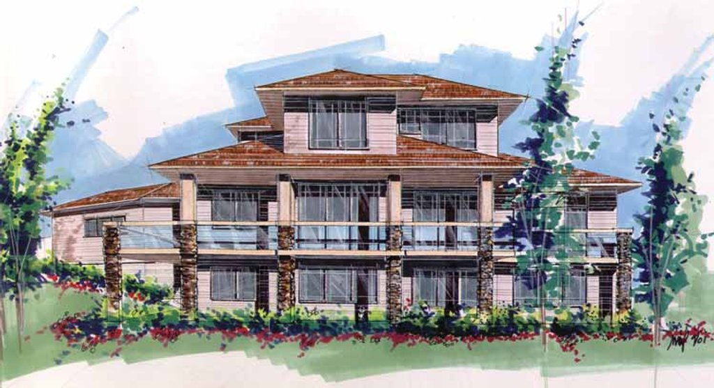Prairie style house plan 3 beds 3 5 baths 2794 sq ft for House plans with a view to the rear