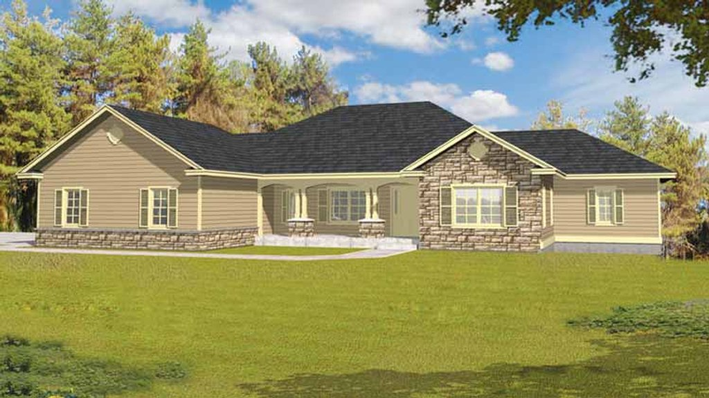 Ranch style house plan 3 beds 3 baths 3162 sq ft plan for 4 bedroom house plans under 200 000