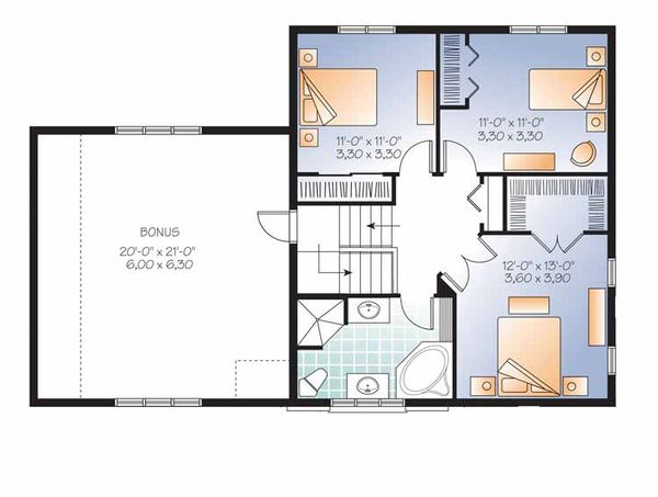 Country Floor Plan - Upper Floor Plan Plan #23-2543