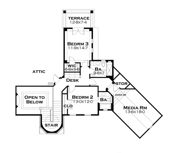 Cottage Floor Plan - Upper Floor Plan Plan #120-244