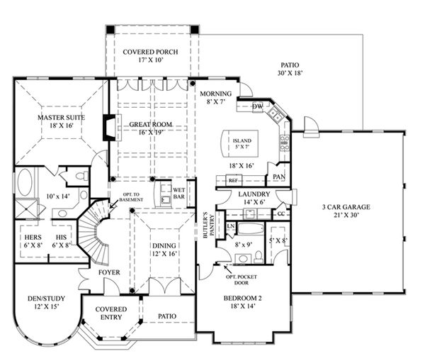 House Plan Design - European Floor Plan - Main Floor Plan #119-417