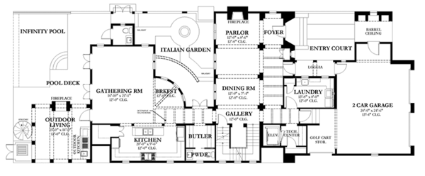 Mediterranean Floor Plan - Main Floor Plan Plan #1058-152