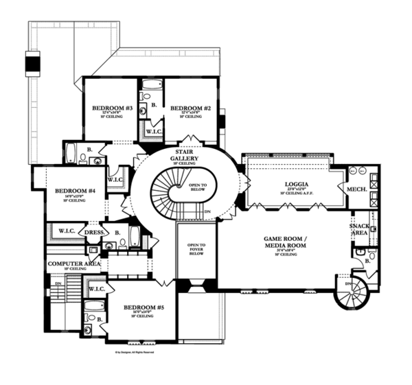 Mediterranean Floor Plan - Upper Floor Plan Plan #1058-19