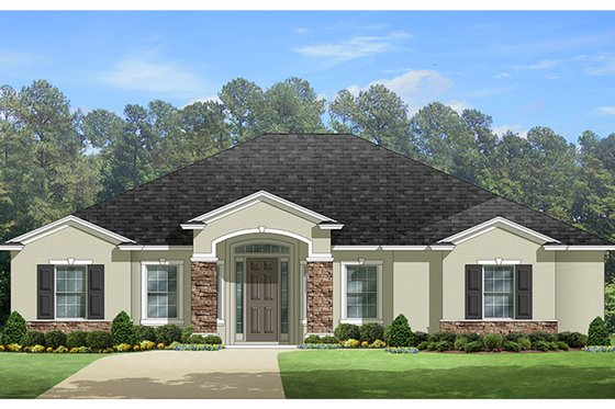Mediterranean Exterior - Front Elevation Plan #1058-127