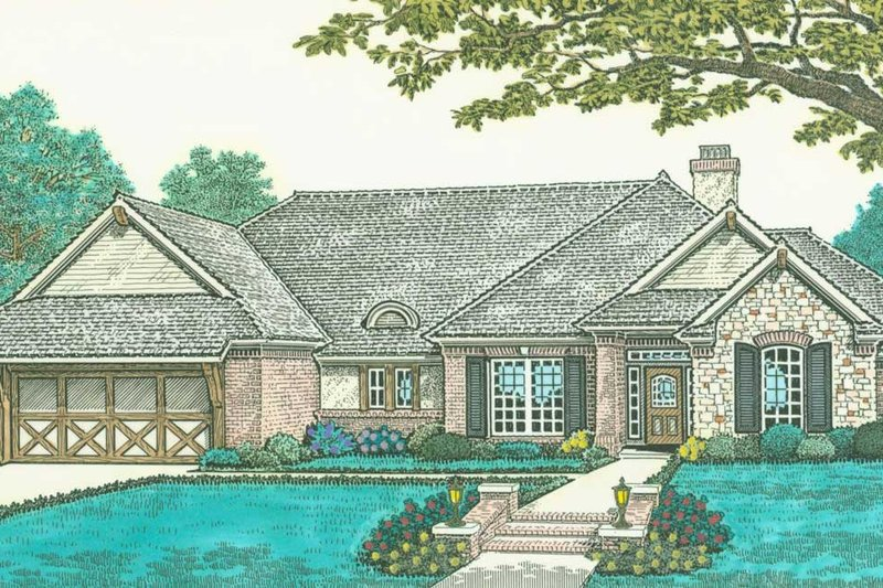 European Style House Plan - 3 Beds 2 Baths 1805 Sq/Ft Plan #310-297 Exterior - Front Elevation