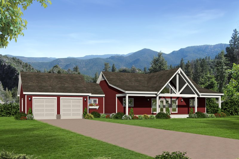 Country Style House Plan - 2 Beds 2 Baths 1650 Sq/Ft Plan #932-36 Exterior - Front Elevation