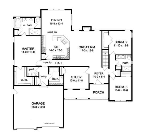 Architectural House Design - Ranch Floor Plan - Main Floor Plan #1010-84