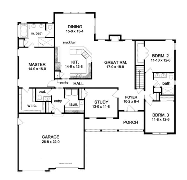 House Plan Design - Ranch Floor Plan - Main Floor Plan #1010-84