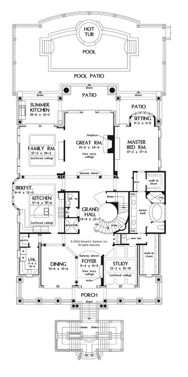 Mediterranean Floor Plan - Main Floor Plan Plan #929-900