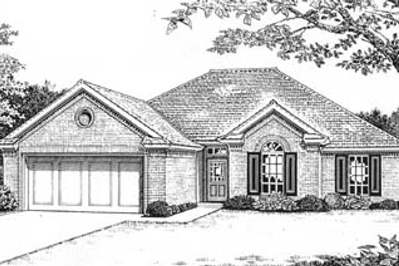 Traditional Style House Plan - 3 Beds 2 Baths 1615 Sq/Ft Plan #310-572 Exterior - Front Elevation