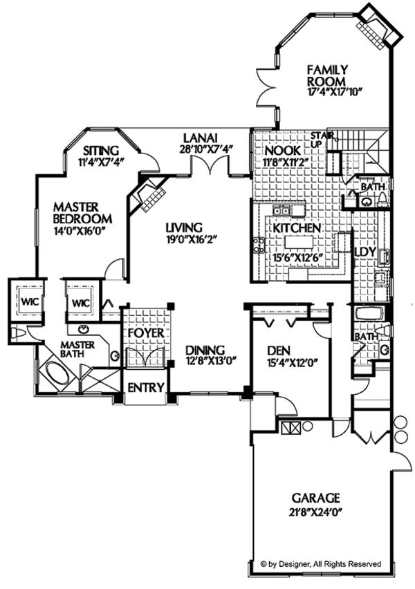 Mediterranean Floor Plan - Main Floor Plan Plan #999-22