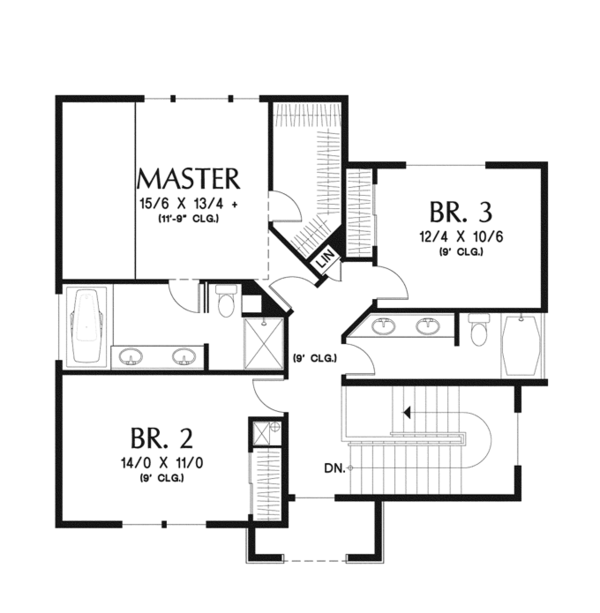 Traditional Floor Plan - Upper Floor Plan Plan #48-910