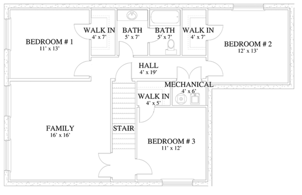 Traditional Floor Plan - Lower Floor Plan Plan #1060-17