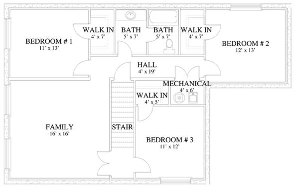 Traditional Floor Plan - Lower Floor Plan Plan #1060-17