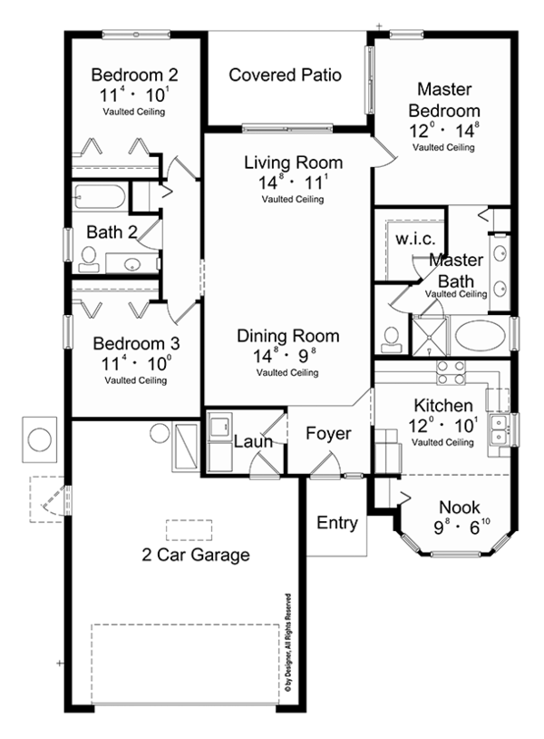Mediterranean Floor Plan - Main Floor Plan Plan #417-820