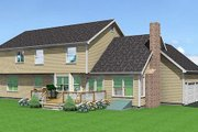 Country Style House Plan - 4 Beds 2.5 Baths 2611 Sq/Ft Plan #75-118 Exterior - Rear Elevation