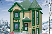 Victorian Style House Plan - 3 Beds 1.5 Baths 1420 Sq/Ft Plan #25-2029 Exterior - Front Elevation