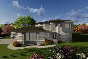 Modern Exterior - Front Elevation Plan #70-1284