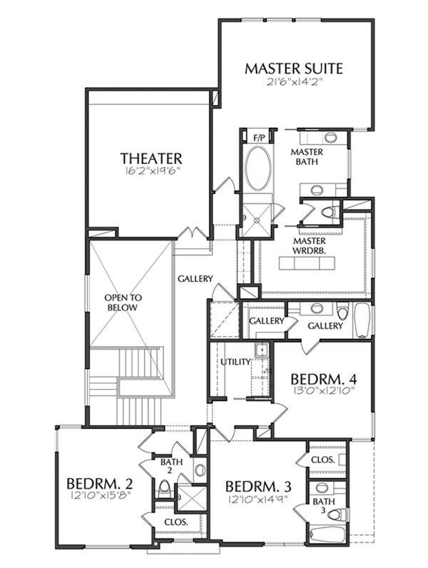 Contemporary Floor Plan - Upper Floor Plan Plan #1021-17