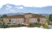 Mediterranean Style House Plan - 4 Beds 3 Baths 2594 Sq/Ft Plan #24-260 Exterior - Front Elevation