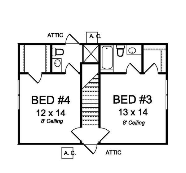 Traditional Floor Plan - Upper Floor Plan Plan #513-2161