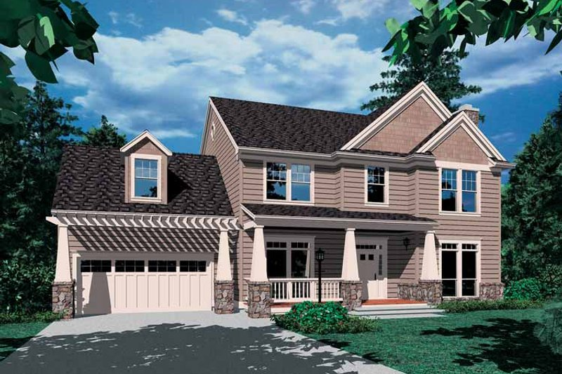 Craftsman Exterior - Front Elevation Plan #48-801