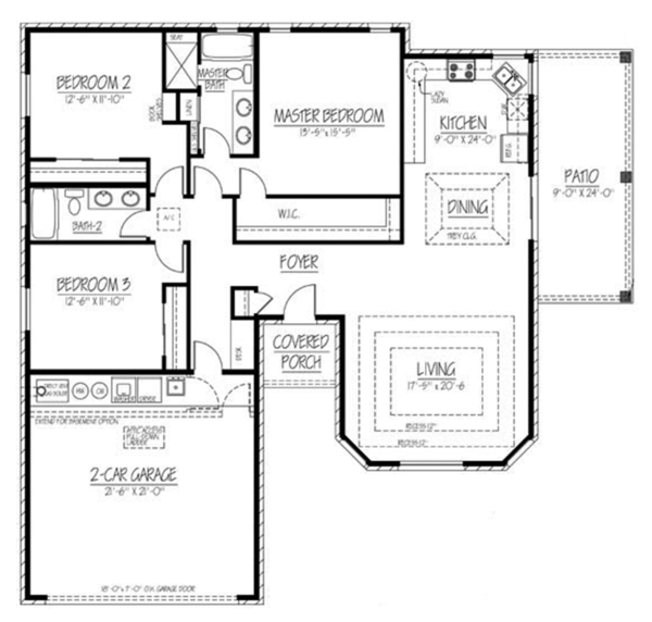 Ranch Floor Plan - Main Floor Plan Plan #1061-11