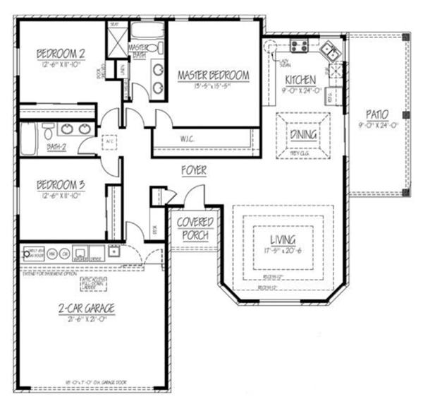 House Plan Design - Ranch Floor Plan - Main Floor Plan #1061-11