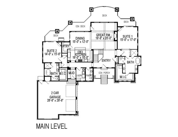 Craftsman Floor Plan - Main Floor Plan Plan #920-25