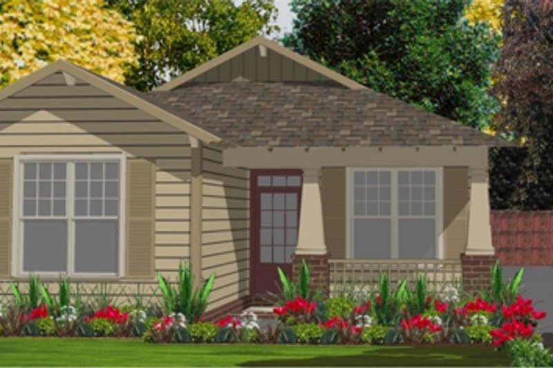 Bungalow Style House Plan - 2 Beds 2 Baths 1250 Sq/Ft Plan #63-246 Exterior - Front Elevation