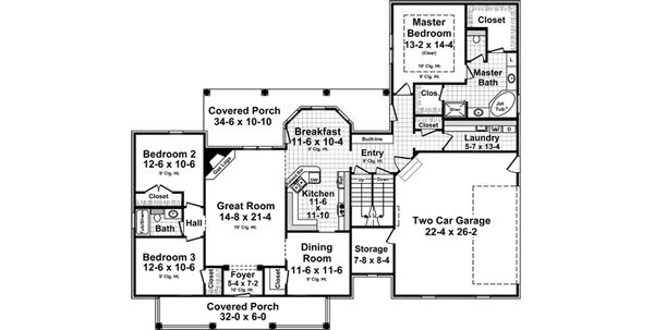 Country Floor Plan - Main Floor Plan Plan #21-374
