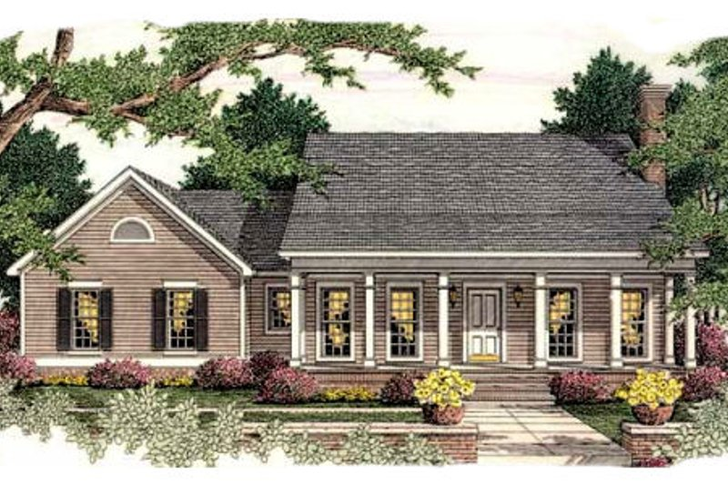 Southern Exterior - Front Elevation Plan #406-287 - Houseplans.com