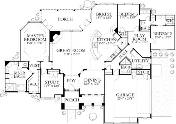 Country Floor Plan - Main Floor Plan Plan #80-174