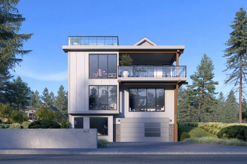 Contemporary Style House Plan - 5 Beds 4 Baths 4144 Sq/Ft Plan #1066-100 Exterior - Front Elevation