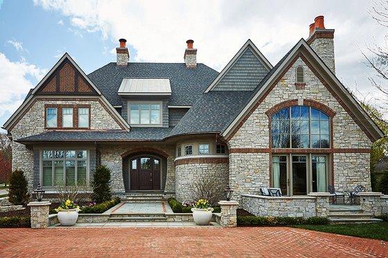 House Blueprint - Tudor Exterior - Front Elevation Plan #928-275