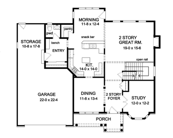 Colonial Floor Plan - Main Floor Plan Plan #1010-64
