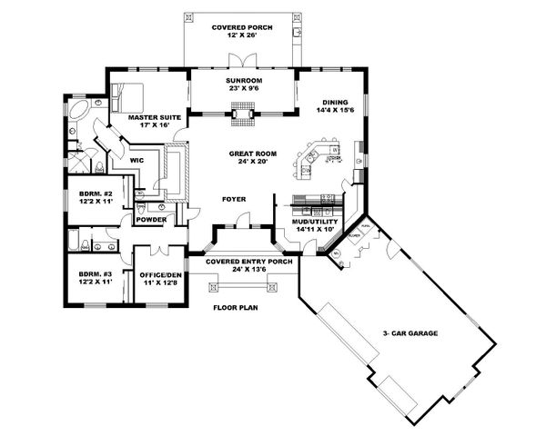 Ranch Floor Plan - Main Floor Plan Plan #117-871