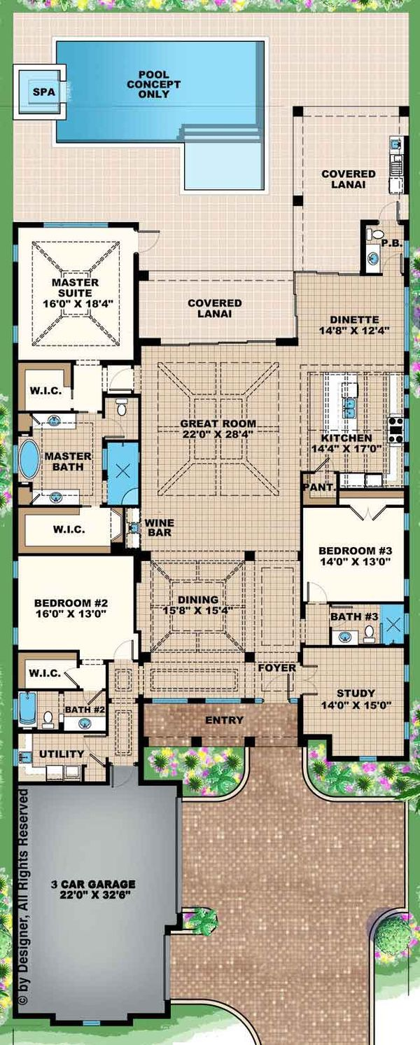 Mediterranean Floor Plan - Main Floor Plan Plan #1017-156