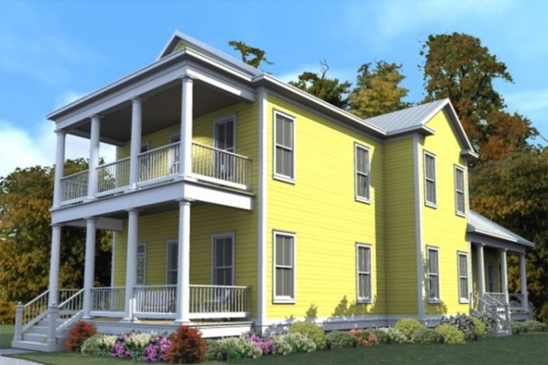 Farmhouse Style House Plan - 4 Beds 3 Baths 2604 Sq/Ft Plan #63-377 Exterior - Front Elevation