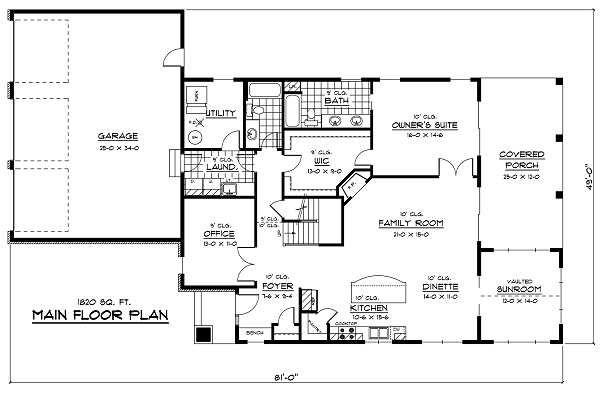 European Floor Plan - Main Floor Plan Plan #51-256