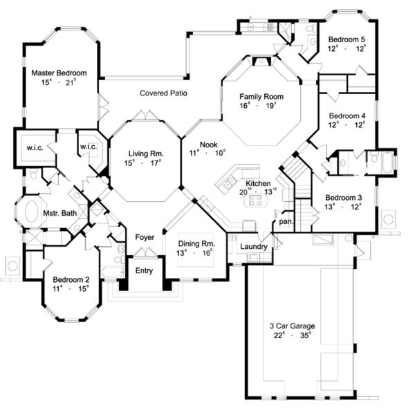 Dream House Plan - Mediterranean Floor Plan - Main Floor Plan #417-662