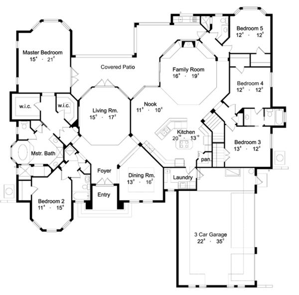 House Plan Design - Mediterranean Floor Plan - Main Floor Plan #417-662