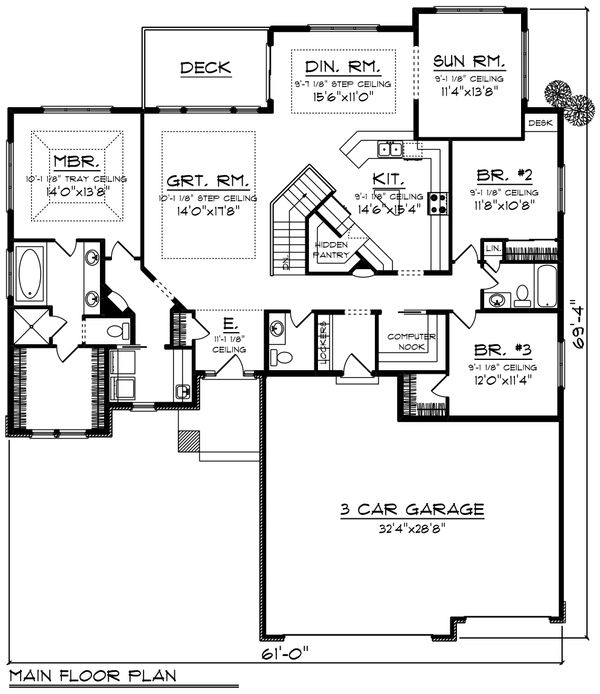 Ranch Floor Plan - Main Floor Plan #70-1423