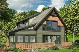 House Blueprint - Cabin Exterior - Front Elevation Plan #117-901