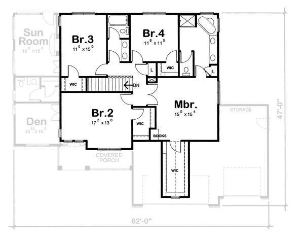 Dream House Plan - Traditional Floor Plan - Upper Floor Plan #20-1762